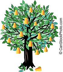 Illustration Pear tree - Vector illustration of a fruit tree...