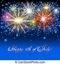 Fourth of July - Sparkling fireworks background to celebrate...