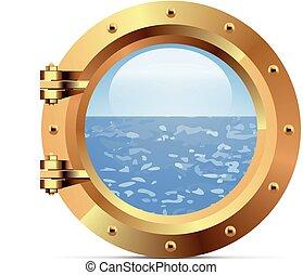 Ship metal porthole on white background - Ship bronze...