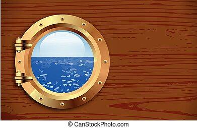 Porthole on wooden background