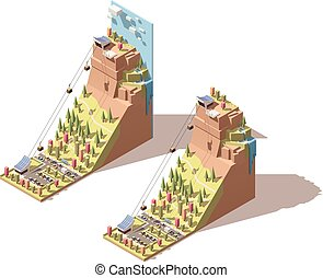 Vector isometric cableway to the hill infographic - Vector...
