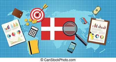 denmark economy economic condition country with graph chart and finance tools vector graphic