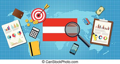 austria economy economic condition country with graph chart...