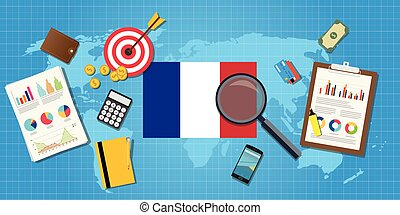 france economy economic condition country with graph chart...