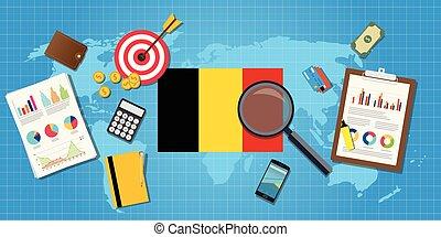 belgium economy economic condition country with graph chart...