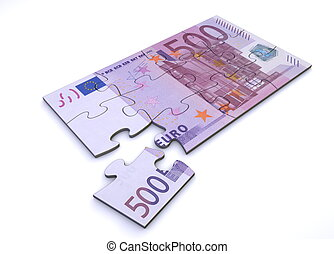 500 Euro Note Puzzle - 500 Euro note as a puzzle - one piece...
