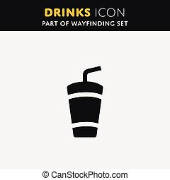 Soft drink icon Coctail, coffee tea juice sign