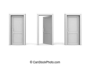 Three Grey Doors - One Open - line of three grey doors -...