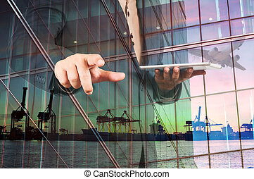 Double Exposure of Businessman with Digital Tablet and Port...