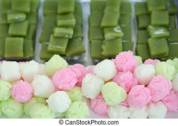 Colorful sponge cake and layer sweet cake (Kanom Chan) -...