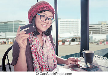 asian woman happiness smiling face with credit card in hand...