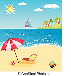 beach - vector illustration of a colorful beach