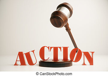 Wooden auction gavel in mid air on light background. 3D...