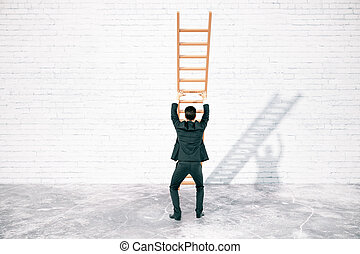 Obstacle overcoming concept with ladder - Obstacle...