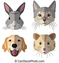 Collection of domestic animal heads for the creative use in...