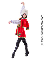 Handsome woman dancing, isolated on white background in full...