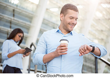 Business modern time - Nice time Cheerful and smiling young...