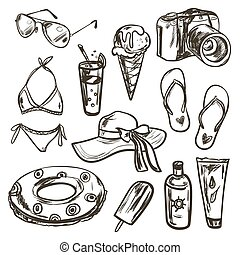 Vector collection of summer elements