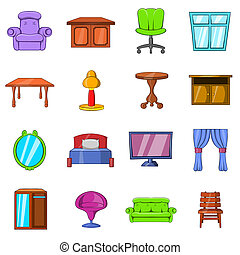 Furniture icons set in hand-drawn style isolated on white...