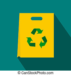 Package recycling icon, flat style - Package recycling icon...