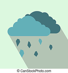 Clouds and hail icon, flat style - icon in flat style on a...