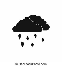 Clouds and hail icon, simple style - Clouds and hail icon in...