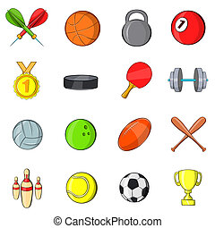 Sport icons set in hand-drawn style isolated on white...