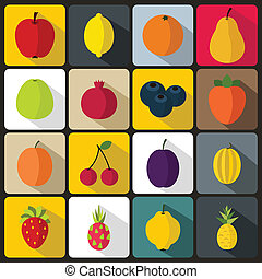 Fruit icons set in flat style for any design