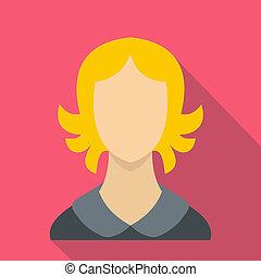 Woman icon, flat style - Woman icon in flat style for any...