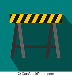 Traffic barrier icon, flat style - icon in flat style on a...
