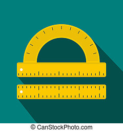 Ruler and protractor icon, flat style - icon in flat style...