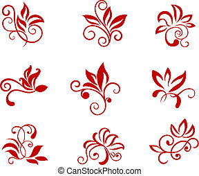 Flower patterns isolated on white for design and ornate