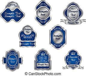 Set of vintage silver labels for design food and beverages