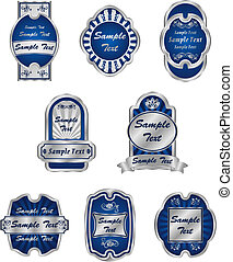 Set of vintage silver labels