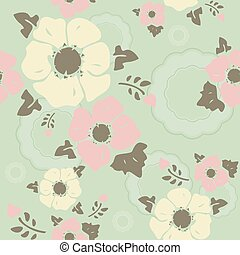 Seamless wall-paper nostalgic flowers, turquoise background