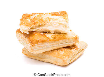 flaky pastry on a white background