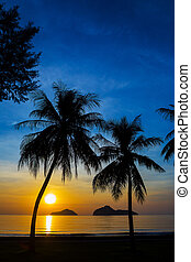 Natural scene at Ao Manow beach in sunrise time Process...