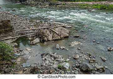 Snoqualmie River Rapids 2 - The Snoqualmie River flows past...