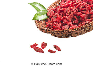 Goji berry - Bowl with Group of Goji berry on the white