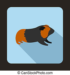 Hamster icon, flat style - Hamster icon in flat style with...