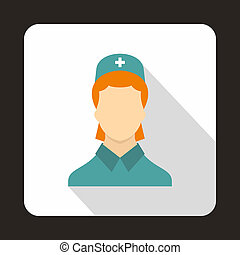 Doctor icon, flat style - Doctor icon in flat style with...