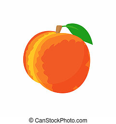 Ripe whole peach icon, cartoon style - icon in cartoon style...