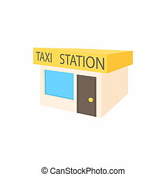 Taxi station icon, cartoon style - icon in simple style on a...