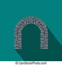 Stone arch icon, flat style