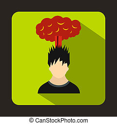 Man with red cloud over head icon, flat style - icon in flat...