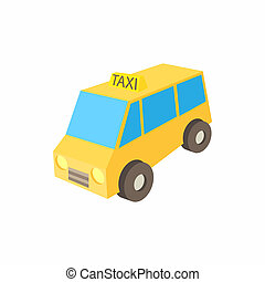 Yellow taxi car icon, cartoon style - icon in simple style...