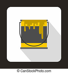 Yellow paint can icon, flat style - icon in flat style on a...