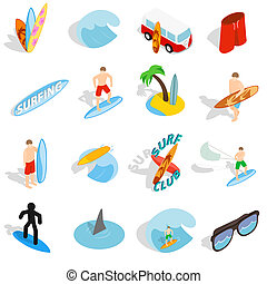Surfing isons set, isometric 3d style - Surfing isons set in...