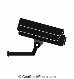 Surveillance camera icon, simple style - Surveillance camera...