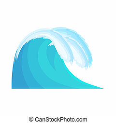 Water Wave icon in cartoon style isolated on white...